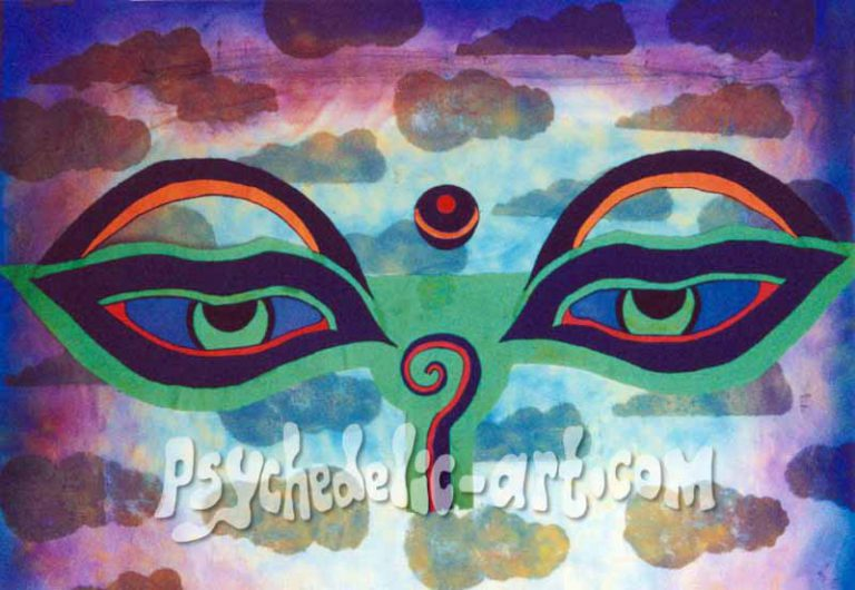 "002 ""Buddha Eyes"", 2000, 150 x 100 cm, Acrylic on canvas"