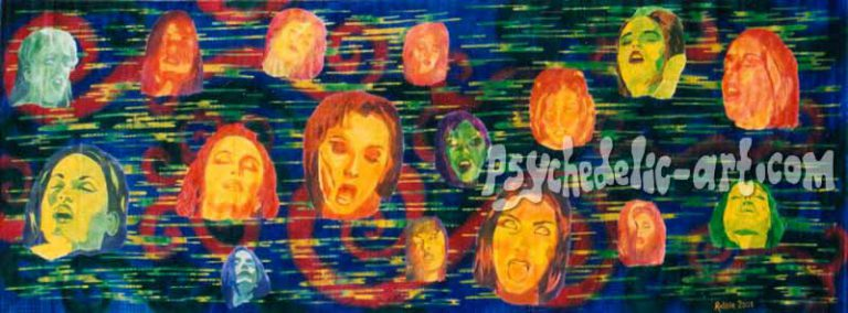"011 ""Electric Orgasm"", 2001, 146 x 400 cm, Acrylic on canvas"