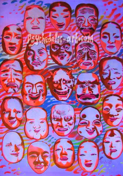 "059 ""Window to Noh (Behind the invisible mask)"", 2005, 147 x 94cm, Acrylic on canvas"