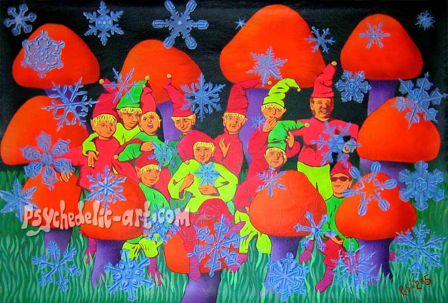"071 ""X-Mas Elves at Shroomhenge "", 2005, 113 x 165cm, Acrylic on canvas"