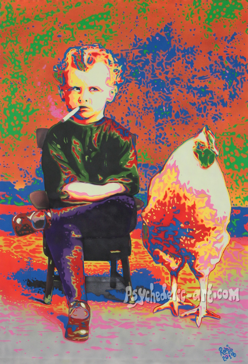 UV painting of a sitting boy and large chicken