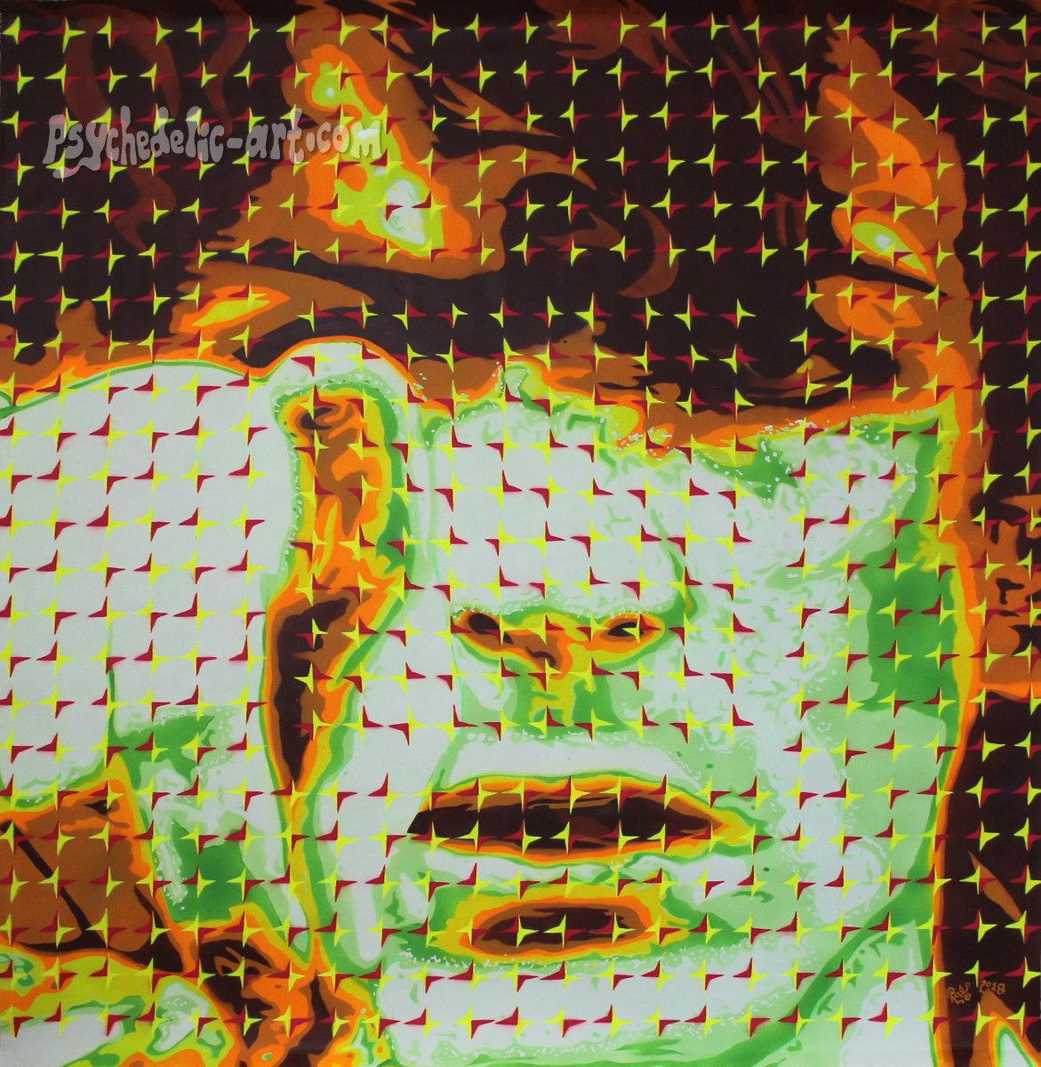 UV portrait of Syd Barrett pointing finger at viewer