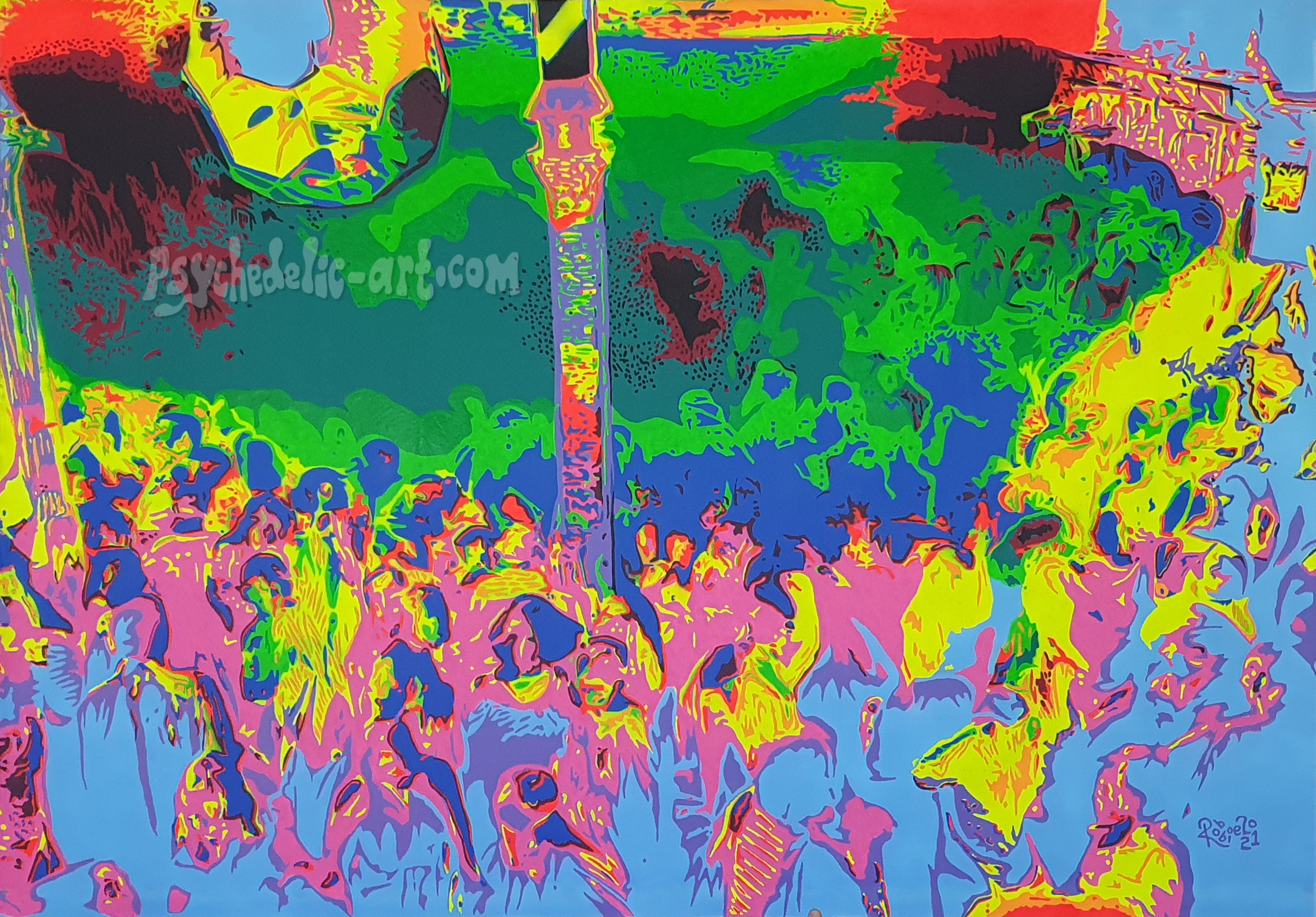 """Psychedelic and fluorescent multi-coloured scene of the Hacienda dance floor in Manchester UK, during the late 1980s. Painting """"Hacienda Hazy Daze"""" by Robbie."""