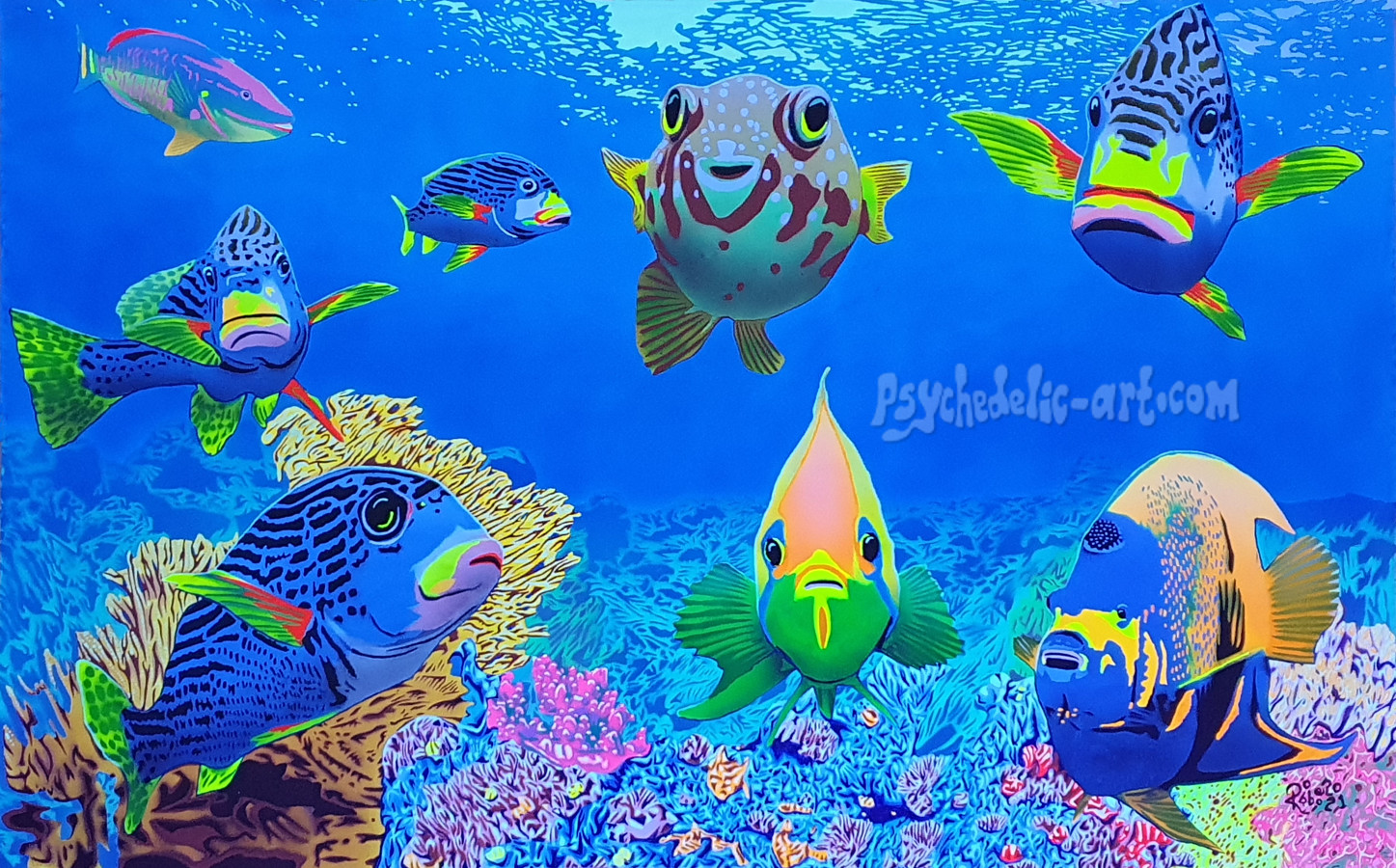 UV painting of coral reef with coral fish staring directly at you