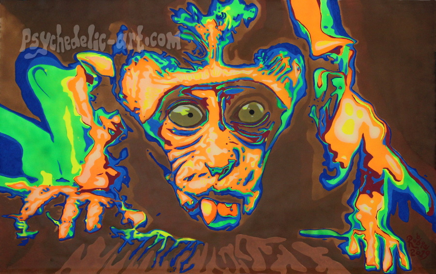 Painting of a monkey licking