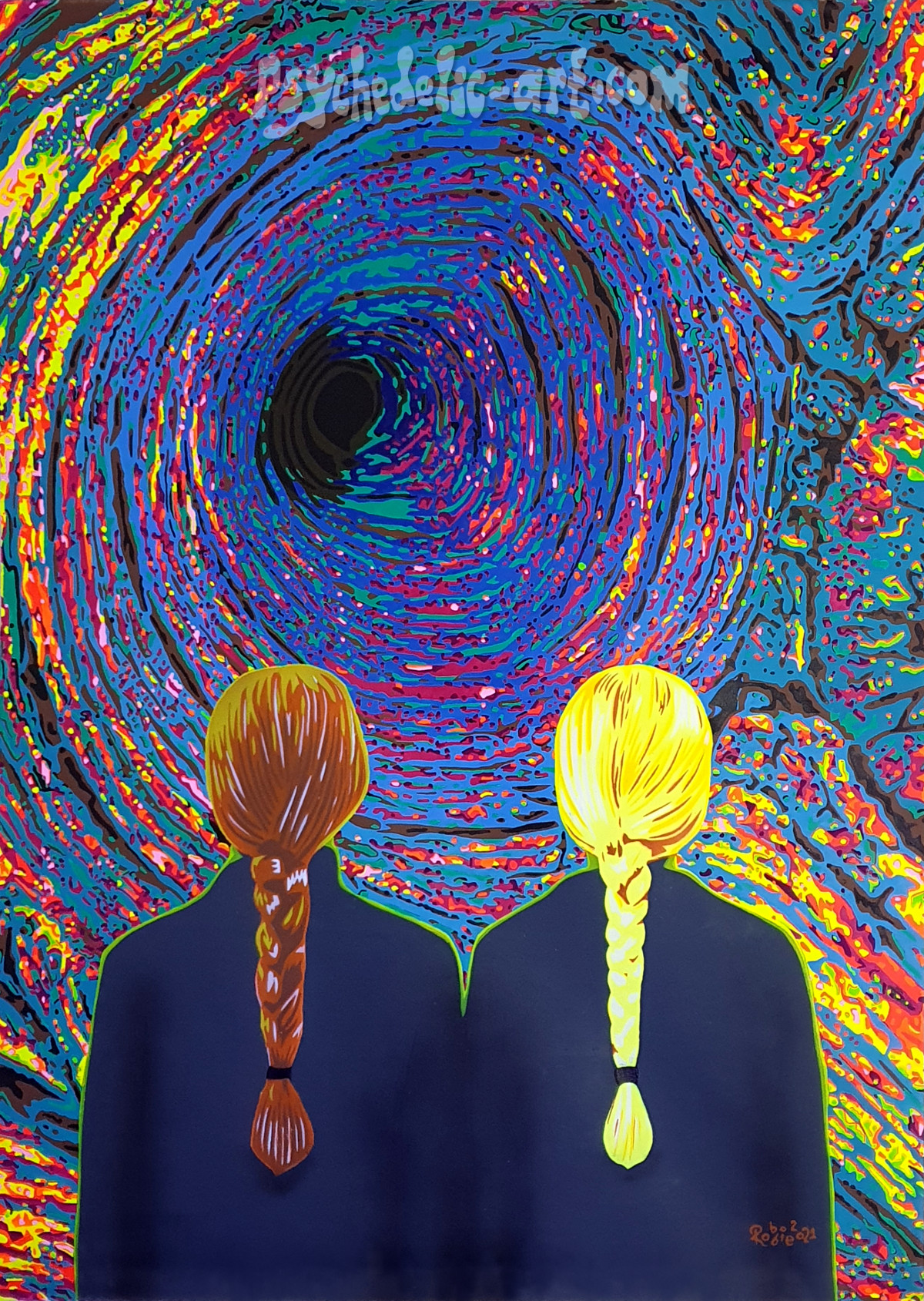 Two women looking into a colourful vortex, UV painting