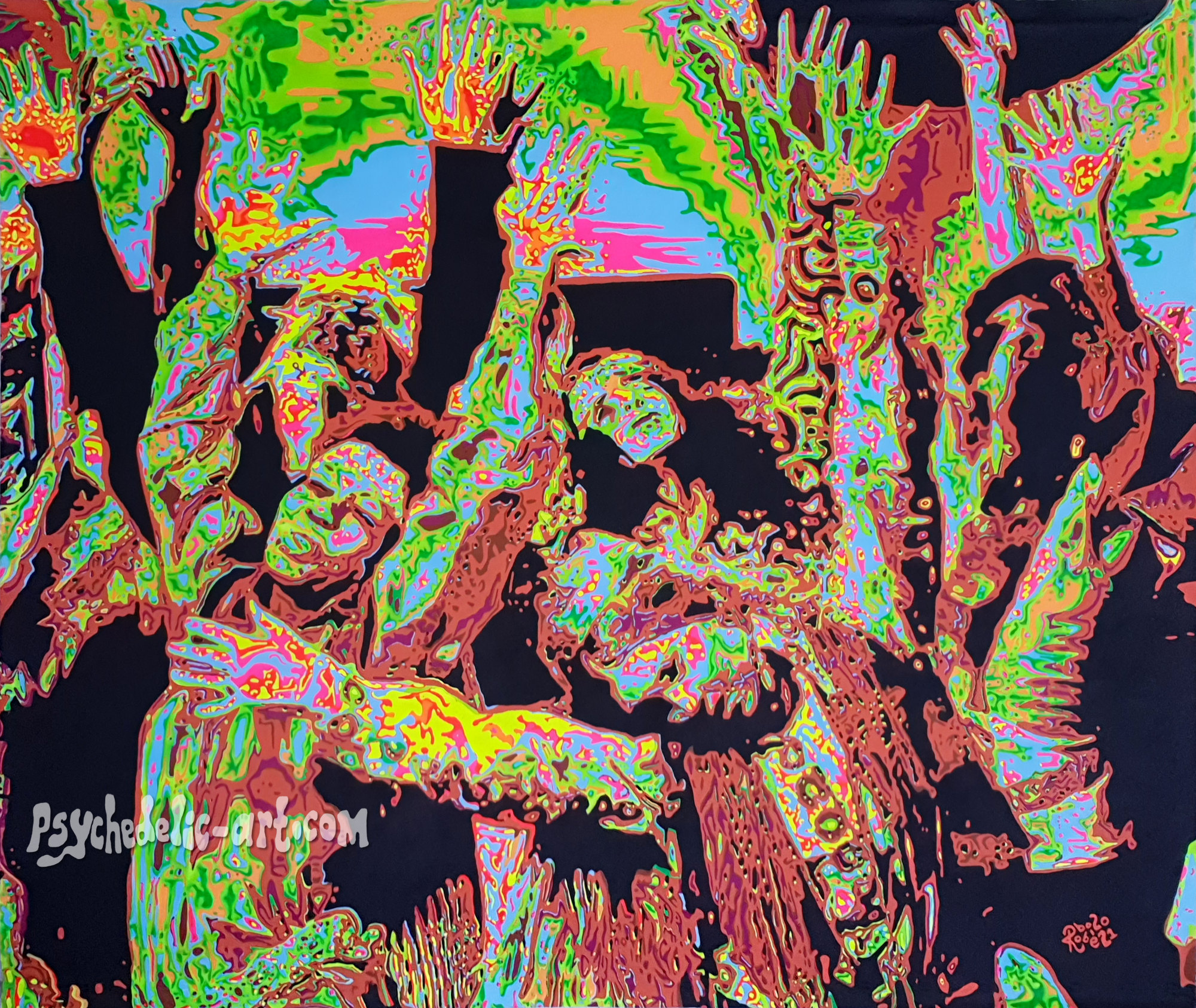 UV painting of dancing people with hands raised